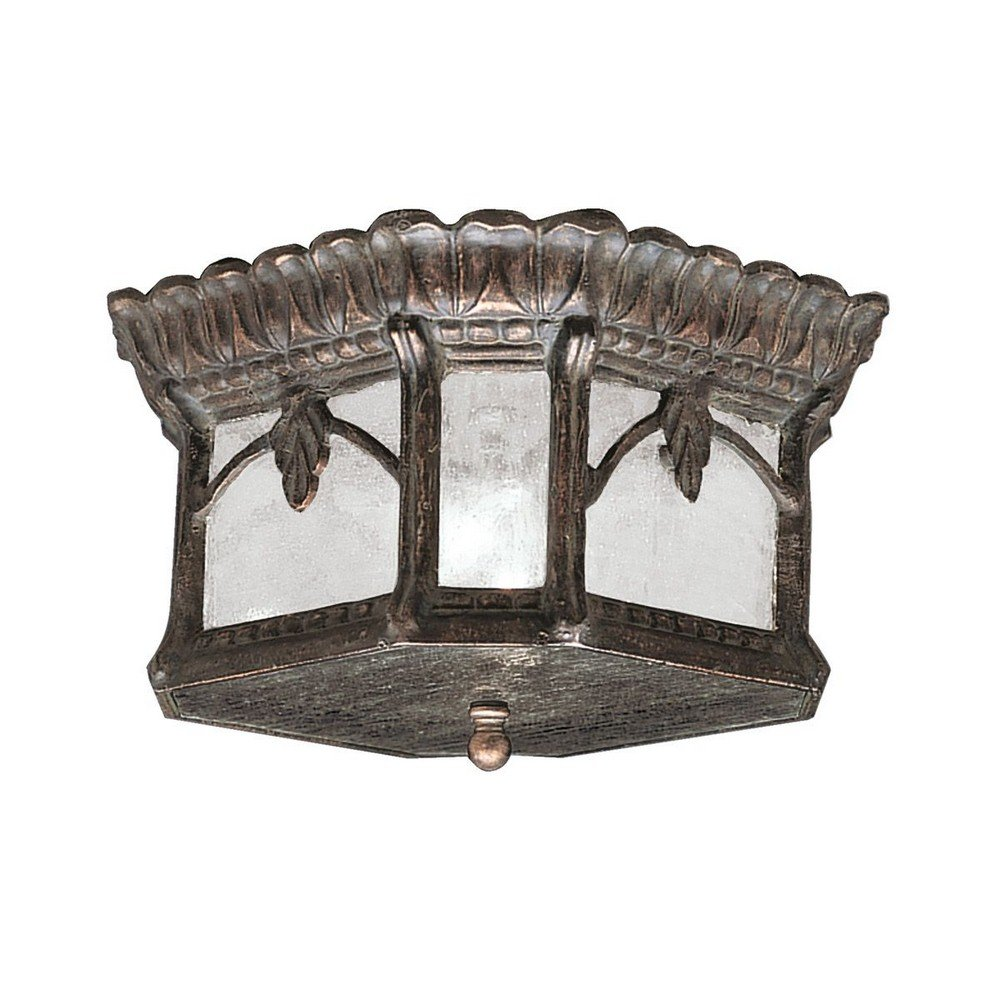 Kichler Lighting 9854LD Tournai - Two Light Outdoor Flush Mount, Londonderry Finish with Clear Seedy Glass