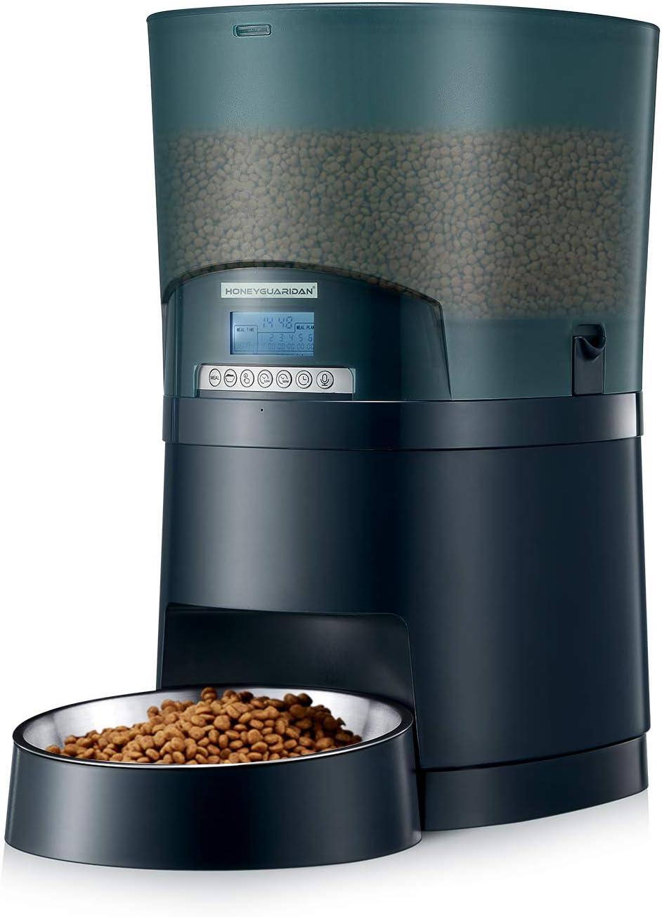 HoneyGuaridan A68 7L Dispensador de Comida para Mascotas de Gran Capacidad con Bol de Comida de Acero Inoxidable, grabadora de Voz, hasta 6 Comidas por día, para Todos los Gatos y Perros (Azul)