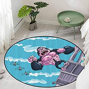 Round Office Chair Floor Mat Foot Pad King Kong Hanging on a Building Fantasy Fiction Gorilla Children Illustration Diameter 66 inch Area Rugs