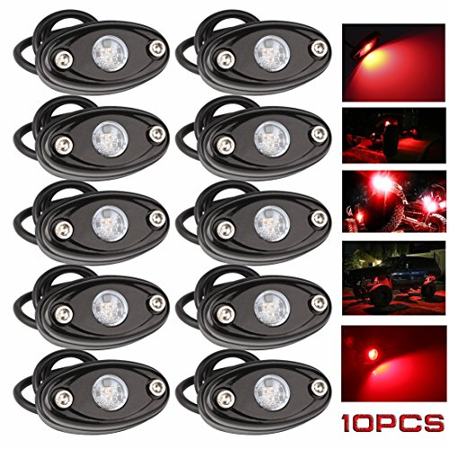 LEDMIRCY LED Rock Lights Red Kit for JEEP Off Road Truck ATV SUV Car Auto Boat High Power Underbody Glow Neon Trail Rig Lights Underglow Lights Waterproof Shockproof(Pack of 10,Red)