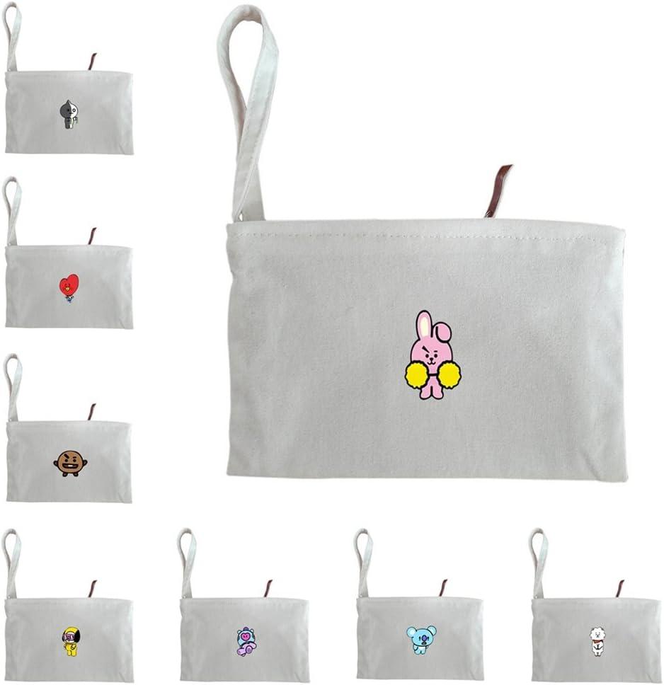 RJ Bestomrogh Kpop BTS Toile Zipper Portefeuille Motif de Bande Dessin/ée//Lettre Imprimer Mobile Sac Porte-Monnaie Le Cadeau Parfait pour Les Fans