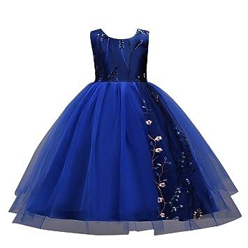 Niñas Elegante Vestidos de Princesa Fiesta sin Mangas Bordado Vestido de Tutú para Fiesta Boda Noche