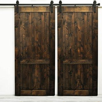 Hahaemall 4,6 m interior Metal Roller puerta corredera de pista de Hardware doblado ruedas doble madera granero puertas: Amazon.es: Bricolaje y herramientas