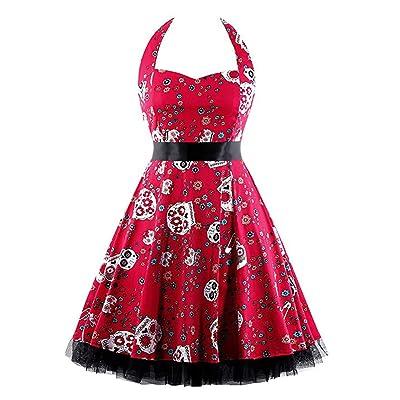 1950 Mujeres Vestido Columpio Sin Mangas De La Vendimia del Vestido De Noche Impresa Fiesta De Baile Vestido De Una LíNea: Ropa y accesorios
