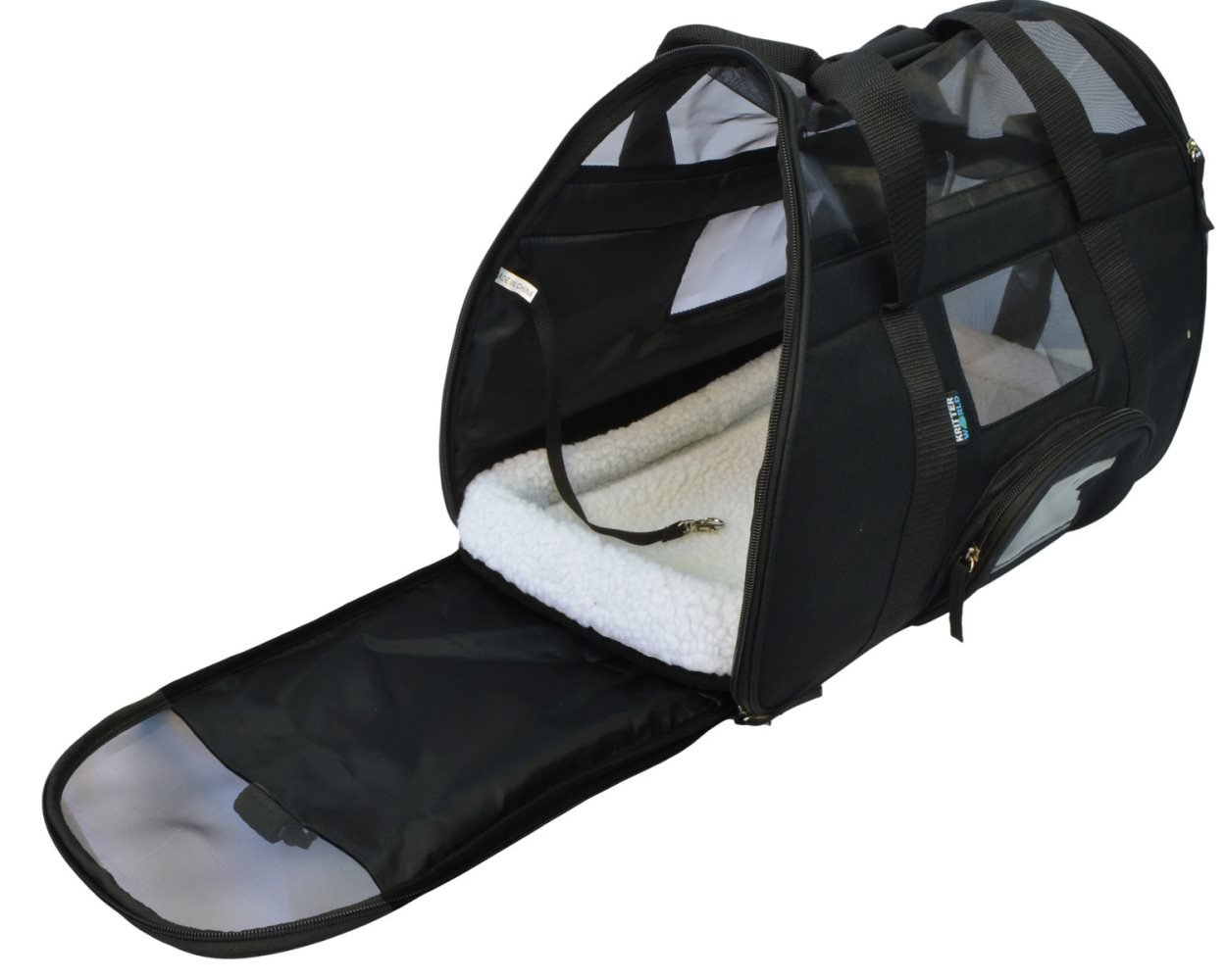 KritterWorld Soft Sided Pet Travel Carrier for Small Dogs and Cats Puppy Small Animals Airline Approved | Removable Sherpa Lining Bed, Built-in Collar Buckle, Lost & Found Tag Included by Black by KritterWorld (Image #4)