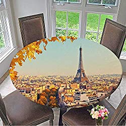 Mikihome Elasticized Table Cover View on Eiffel Tower at Sunset,Paris,France Machine Washable 40-43.5 Round (Elastic Edge)