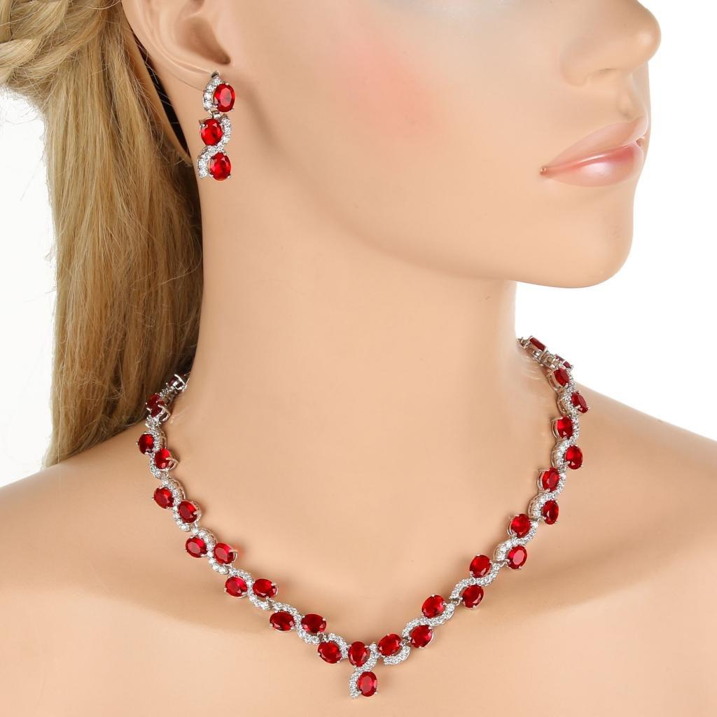 EVER FAITH Silver-Tone Zircon Wedding S-Shaped Necklace Earrings Bracelet Set