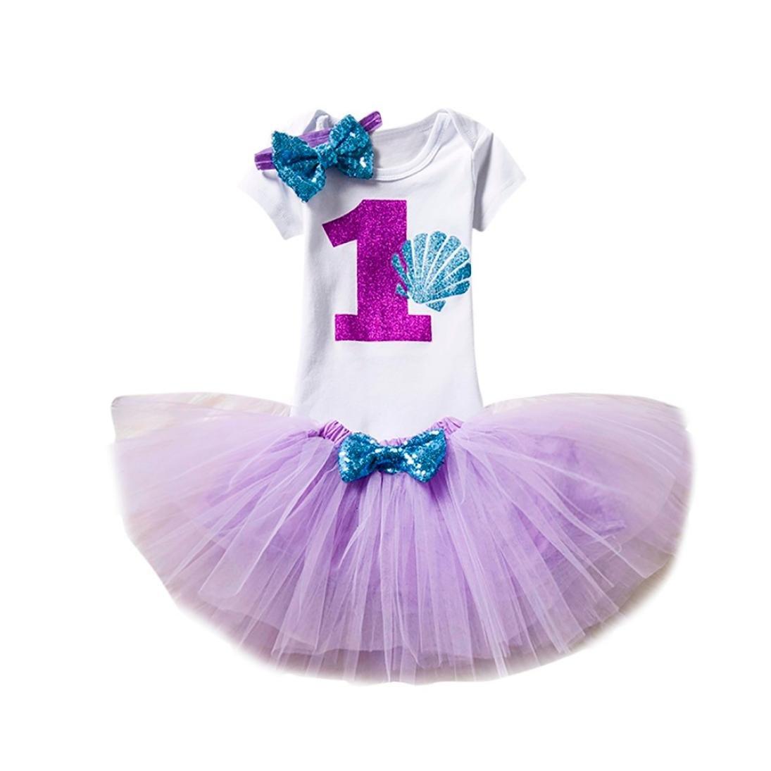 f24bc96d5a Amazon.com: Baby Girls 1 Years Old Birthday Outfits, Cartoon Print Tutu  Skirts+Bodysuit+Headband 3Pcs Set (Purple, 1 Years Old): Clothing