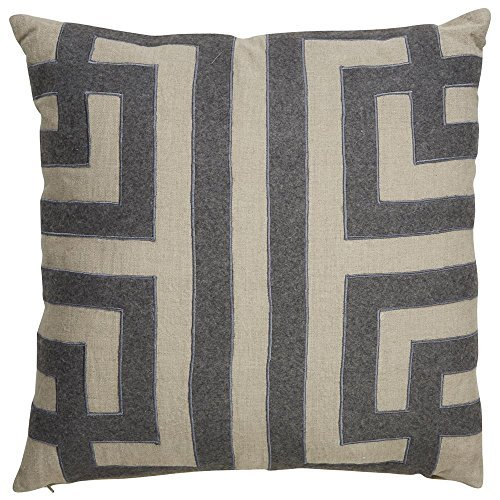 Jaipur Geometric Pattern Taupe/Gray Linen Down Filled Pillow (22
