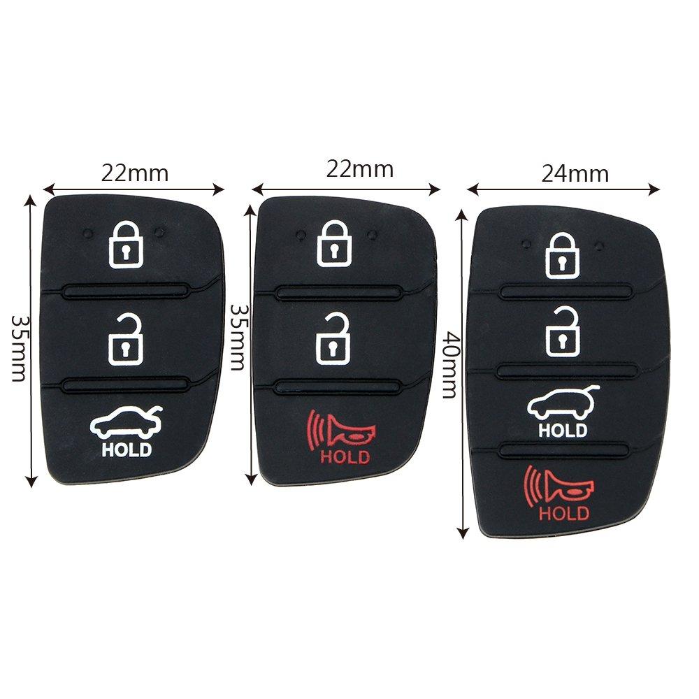 iTimo Rivestimento in gomma per pulsanti della chiave elettronica dell/'auto 3 pulsanti per Hyundai