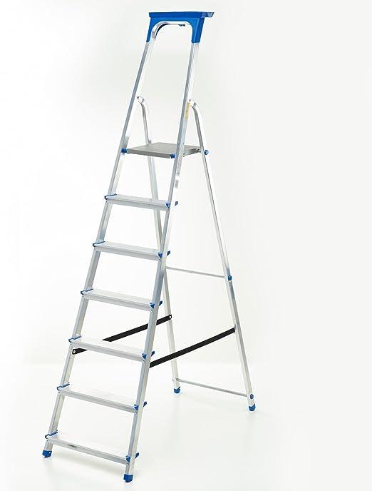Escalera aluminio – Escalera de 7 peldaños con certificado de calidad TÜV/GS Incluye bandeja multifuncional: Amazon.es: Hogar