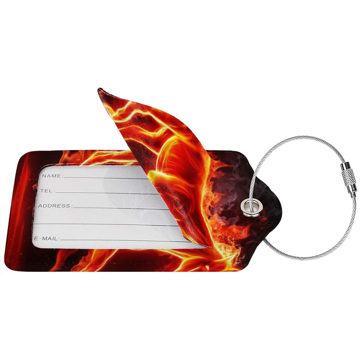 3D Animal Fire Horse Luggage Tag Label Travel Bag Label With Privacy Cover Luggage Tag Leather Personalized Suitcase Tag Travel Accessories