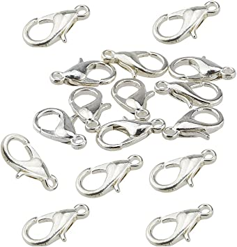 Haobase 100pcs Lobster Clasps Silver Plated Lobster Claw Clasps 10mmX5mm