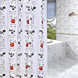 Family Decor PEVA Bathroom Shower Curtain Liner for Home/Traval/Hotel with Hooks,Cute Animal Cat Curtain for Kids 72'' x 72''