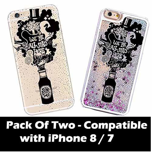 DECO FAIRY Compatible with iPhone 8 / 7 , Alice in Wonderland Mad Tea Party Hatter Drink Me Fizz Bottle Cover Case - Set of Two, One Glitter PVC Hard Case, One Transparent Silicone Clear Case