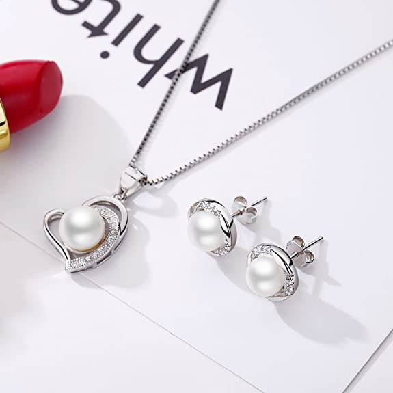 RGBZONE Cute Girlfriend's Jewellery Set - 925 Sterling Silver Pearl & Crystal Pendant Necklace and Stud Earrings AExYOF