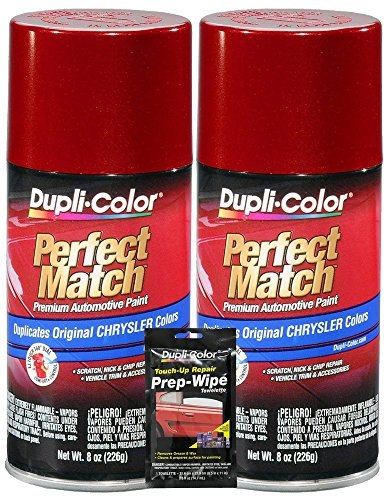 Dupli-Color Inferno Red Metallic Perfect Match Automotive Paint for Chrysler Vehicles - 8 oz, Bundles with Prep Wipe (3 Items)
