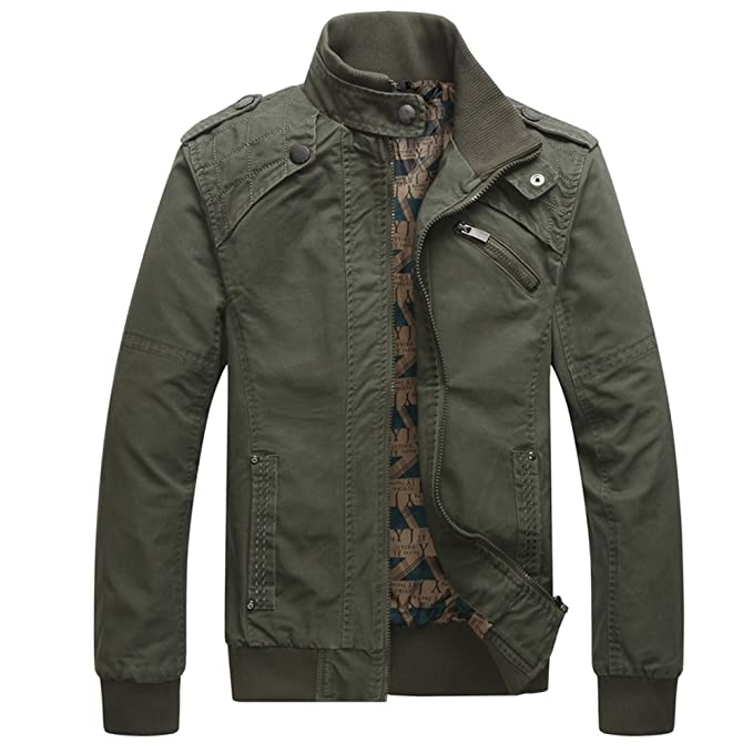 832f74503 Dwar Men's Casual Long Sleeve Full Zip Fashion Outdoor Jacket with Shoulder  Straps