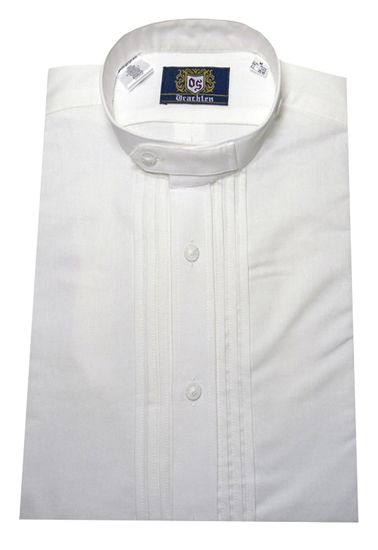 Trachtenhemd mit Stehkragen weiß ORBIS 0002 Pfoad Schlupfhemd mit Bauchriegel bequeme Passform M bis 3XL