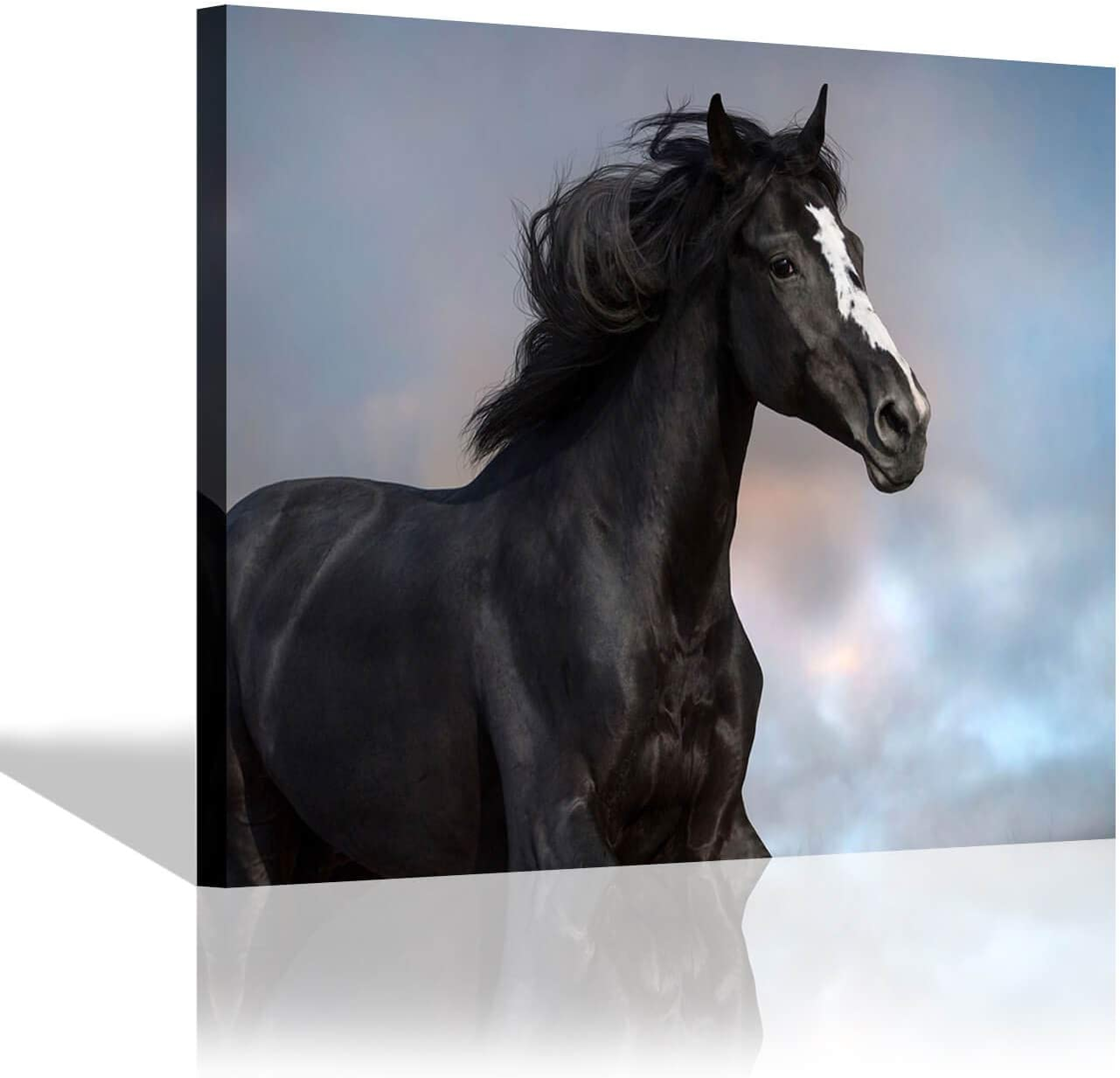 Black Horse Picture Canvas Art: Black Horse Painting Print Artwork Wall Art for Office ( 24'' x 18'' x 1 Panel )