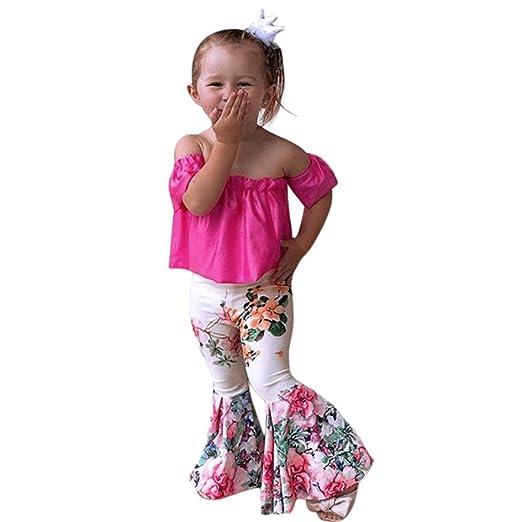 907cf8fab59c Goodlock Toddler Kids Fashion Clothes Set Baby Girls Solid Off Shoulder  Tops+Floral Pants Set
