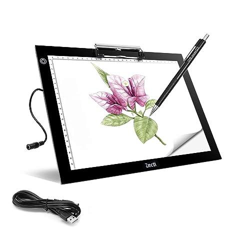 Zecti Mesa de Luz A4, LED Tableta de Luz A4 Portátil con USB 4mm Super Delgado y Brillo Ajustable en 6 Niveles, Herramientas Ideal para Calcar Dibujo