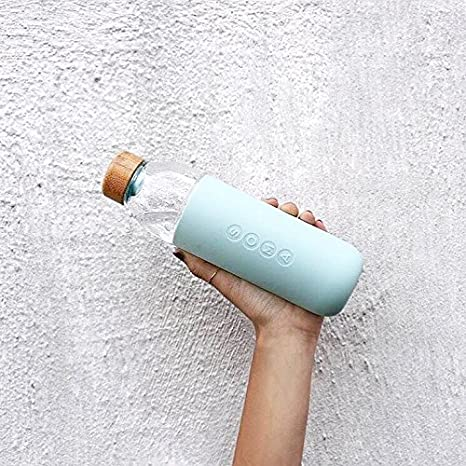 BPA-free Wide Mouth Glass Water Bottle with Silicone Sleeve Soma 17 oz Mint Green
