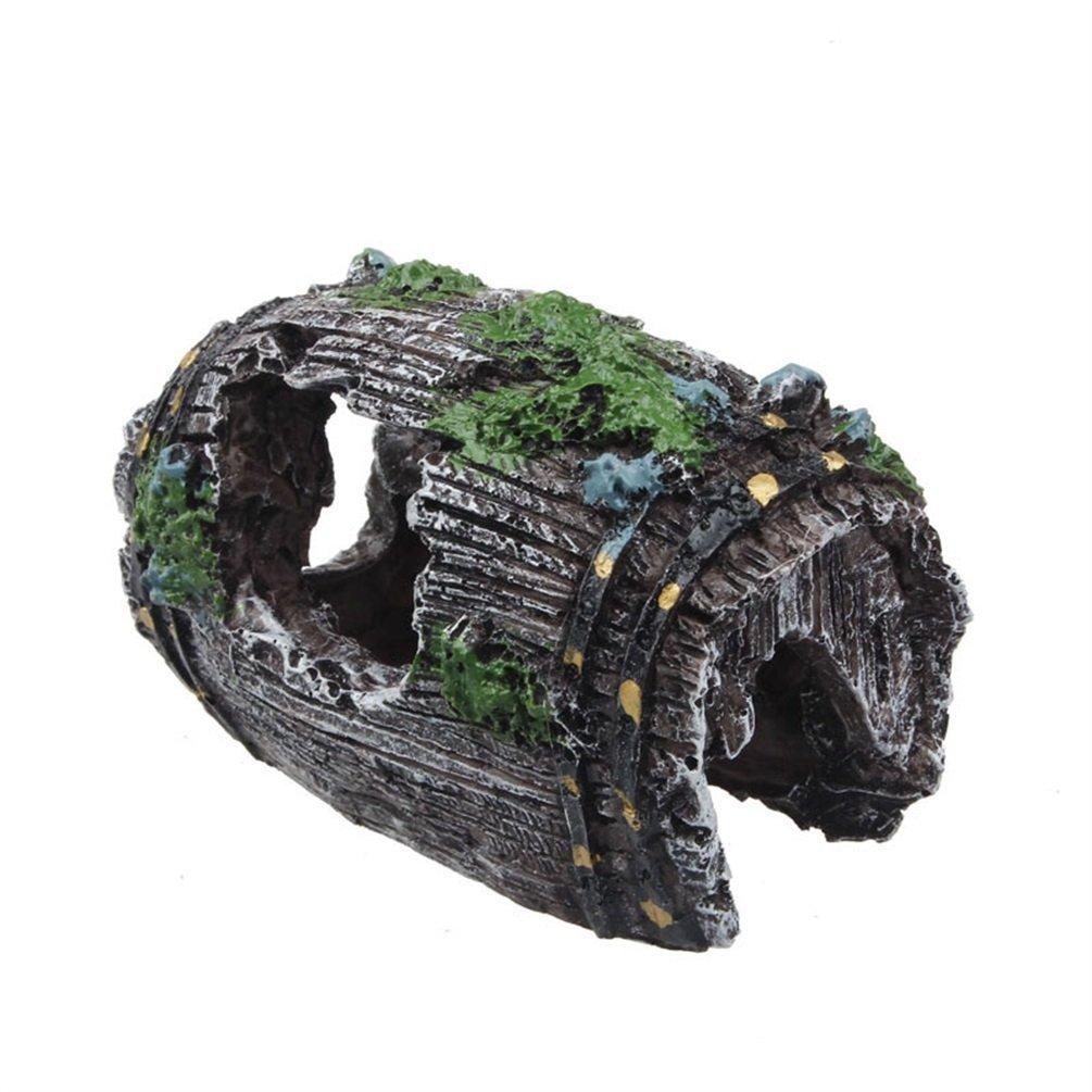 superdream Fish Tank Aquarium Cave Resin Broken Barrel Ornament Landscape Decor Fish Tank Ornaments 0031