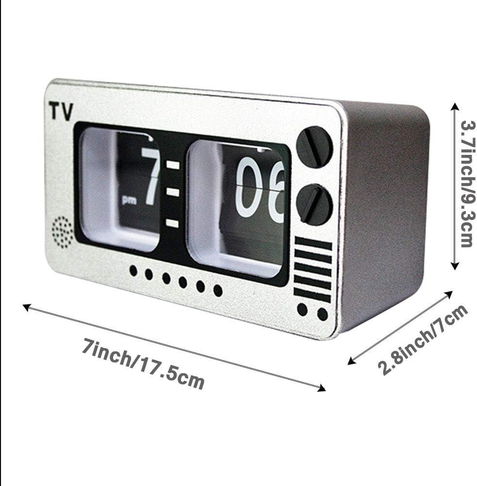 TV Digital Retro Flip Clock -televisión tirón automático del Reloj, número Grande de la Vendimia del Reloj, Relojes Digitales para Sala de Estar Decoración,Plata: Amazon.es: Hogar