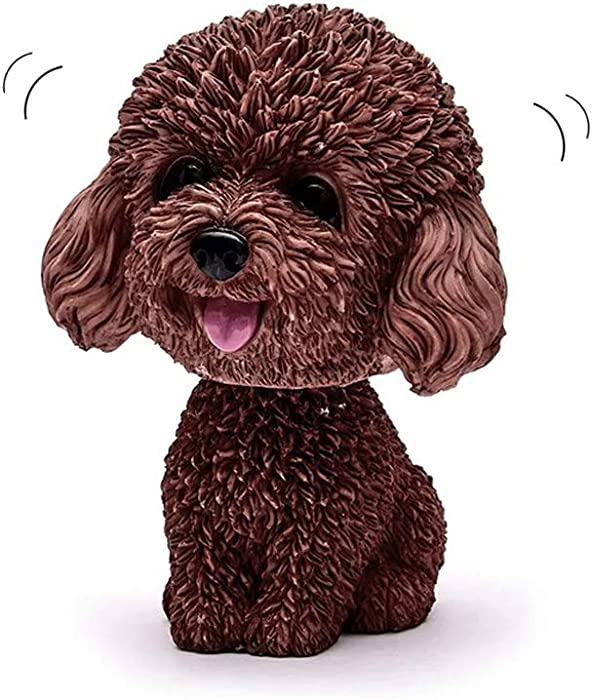 LW Cute Dog Car Rock Head Dog, Shaking Head Dog Decor Car Interior Dashboard Ornament, Car Home Office Decoration (Brown)