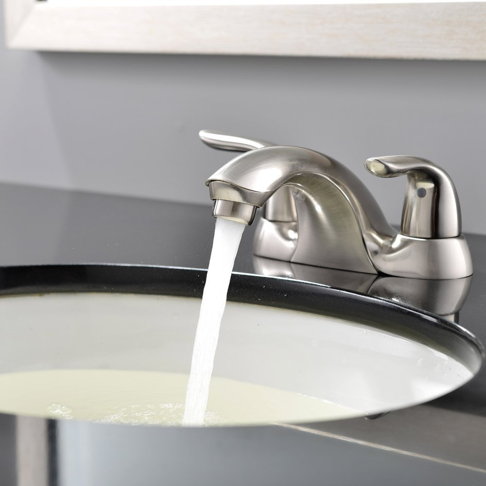 Ufaucet Modern Lavatory Vessel Vanity Sink Bar Basin Tap 2 Handle Brushed Nickel Bathroom Faucet Vessel Sink Faucet Without Pop Up Drain