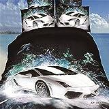 500TC 3D Oil Cars Bedding Sets 4PC,(1PC Duvet Cover,1PC Bed Sheet,2PC PillowCase ),100% Cotton King Queen Size White Car Boys Men Duvet Cover Sets,Queen/Full Size