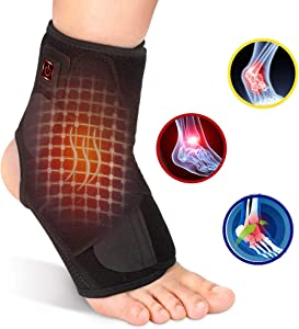 Heated Ankle Brace Wrap, Heated Ankle Support with PE Board Strength Stabilize for Men and Women, Adjustable 3 Level Controller Hot Therapy for Ankle Sprain, Arthritis, Strain and Fatigue