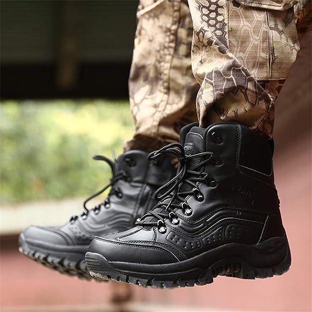 WOJIAO Bottes en Cuir pour Hommes Forces sp/éciales Tactical Desert Combat Chaussures Noires Sneaker de randonn/ée en Plein air