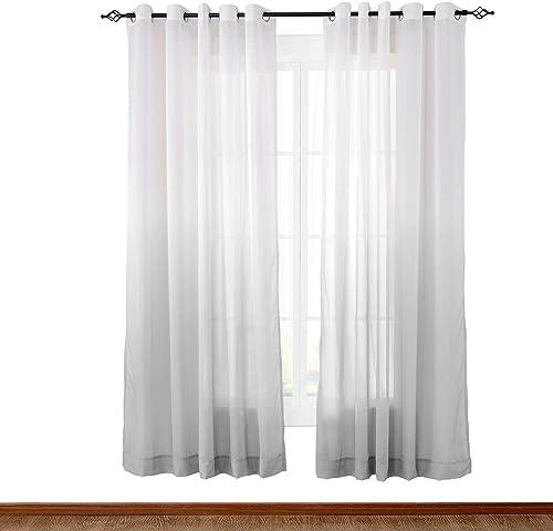 TWOPAGES 150 W X 96 L Wide Indoor Outdoor Grommet Gradient Ombre Sheer Curtain Grey Tulle Gradual Drapes 1 Panel