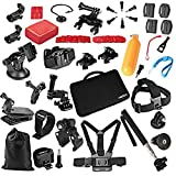 Captain 44-1 Camera Accessories kit for Gopro Hero 4 Session Hero1 2 3 3+ 4 SJ4000 5000 6000 7000 Xiaomi Yi, Black