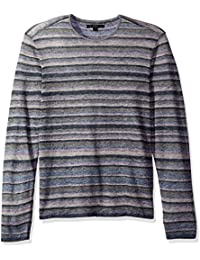 John Varvatos Men's Striped Crewneck Sweater