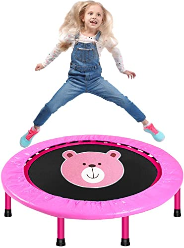 LBLA 38-Inch Kids Trampoline, Mini Trampoline for Kids with Safety Padded Cover, Foldable Trampoline for Kids Exercise Play Indoor or Outdoor