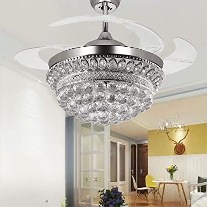 RS Lighting Chandelier Ceiling Fan Light with Remote Control and  Transparent Blades 3 Varied Light Colors Ceiling Fans 42 inch for Indoor,  Living ...