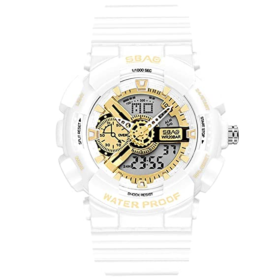 HWCOO SBAO Relojes Reloj electrónico de los Hombres Relojes de Oro Negro Moda Impermeable Reloj electrónico