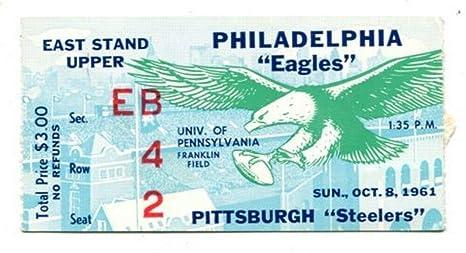 1962 Philadelphia Eagles v Pittsburgh Steelers Ticket 10/8