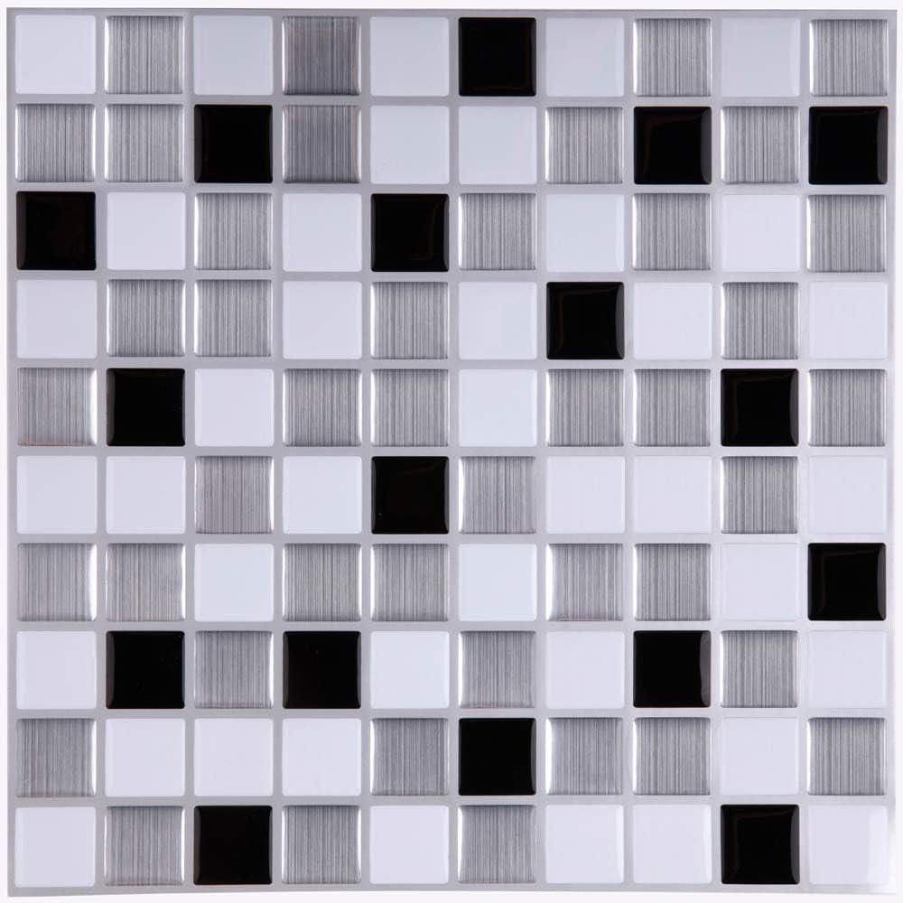 Ecoart Decorativos Adhesivos Para Azulejos Pegatina de pared, Azulejos de gel, diseño de mosaico, efecto 3d, autoadhesivo, Para cuarto de baño y cocina, 25.4cm*25.4cm, 6 piezas por paquete