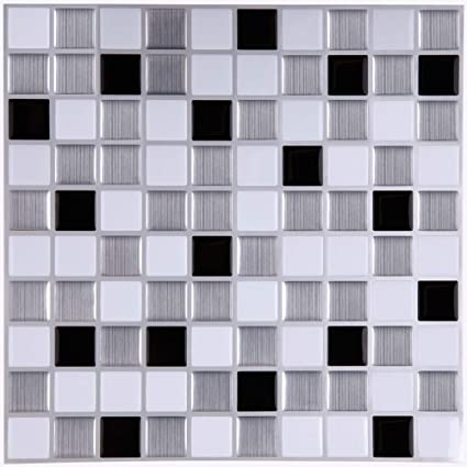 Marvelous Ecoart Wall Tile Stickers Peel And Stick Self Adhesive Wall Tile With Mosaic Effect For Kitcheh Bathroom Backsplash Black Grey White 10 X 10 Pack Of Beutiful Home Inspiration Ommitmahrainfo