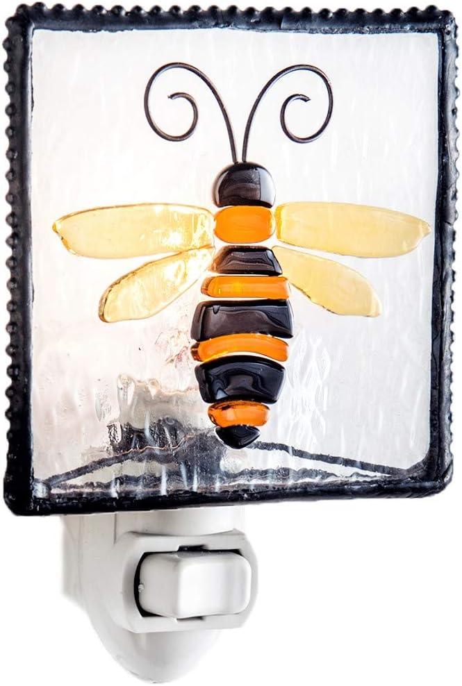 Bee Night Light Decorative Accent Lite Wall Plug in Nightlight for Hallway, Bedroom, Bathroom, Kitchen Nature Themed Home Décor J Devlin NTL 182