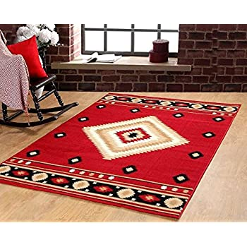 Furnish My Place Southwest Southwestern Modern Area Rug Rustic Lodge, Red