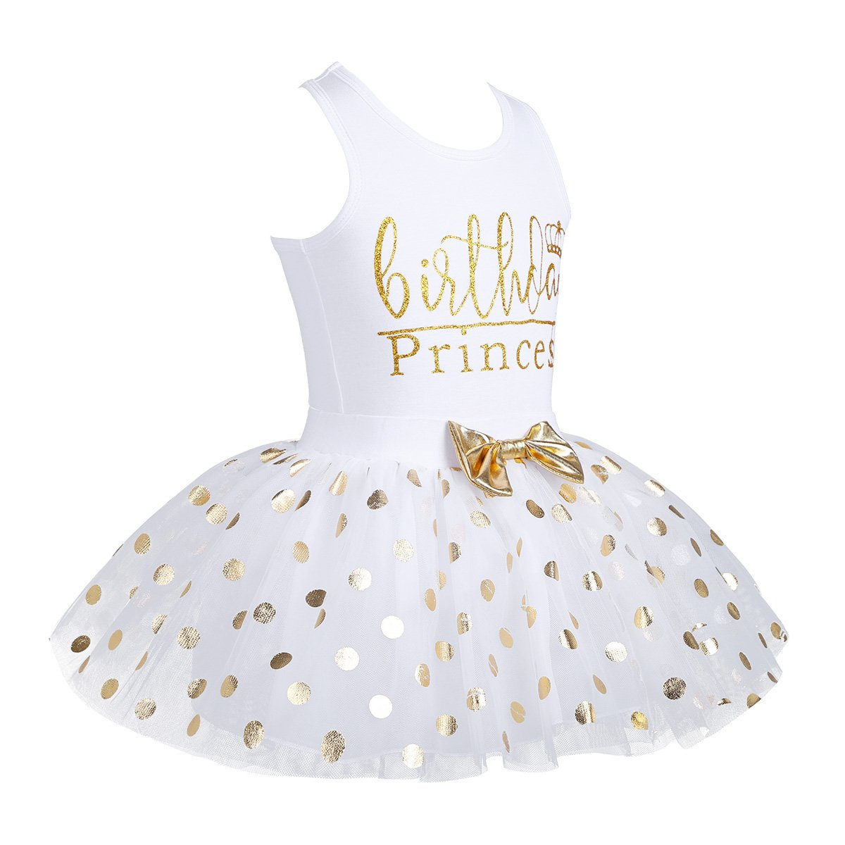 dPois Little Princess Girls' First Birthday Outfits Glittery Monogram Tank Top with Polka Dot Skirts 2 Pieces Set White 4-5 by dPois (Image #3)