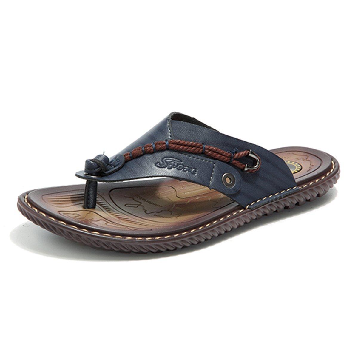 Gracosy Flip Flops, Unisex Zehentrenner Flache Hausschuhe Pantoletten Sommer Schuhe Slippers Weich Anti-Rutsch T-Strap Sandalen fuuml;r Herren Damenr  44 EU|Blau Uk-lager