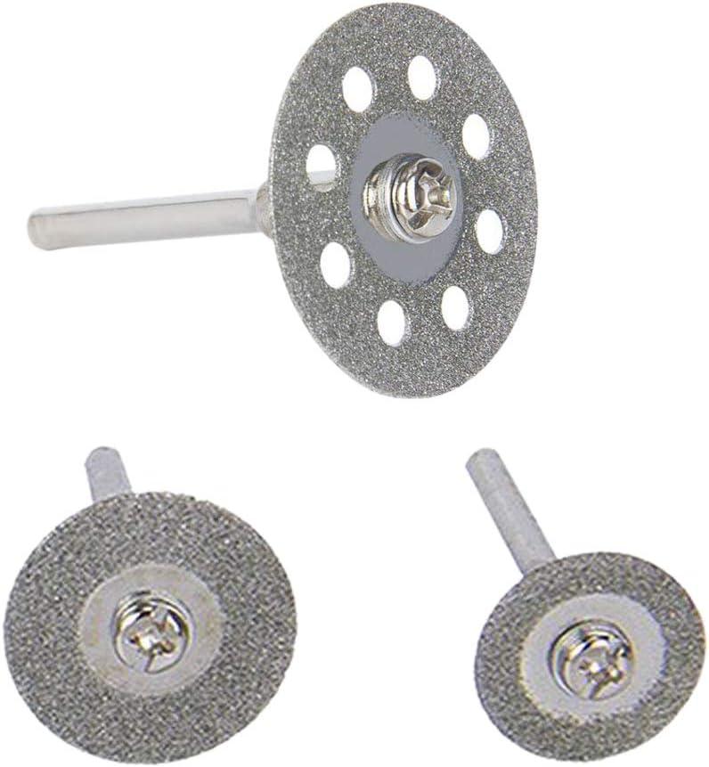 Diamante Rivestito e 6Pcs 3Mm Spina per Attrezzo Rotativo 25Mm // 20Mm // 16Mm Ogni 10 Nrpfell Ruota di Taglio 30 Pz Diamante Rotella di Taglio