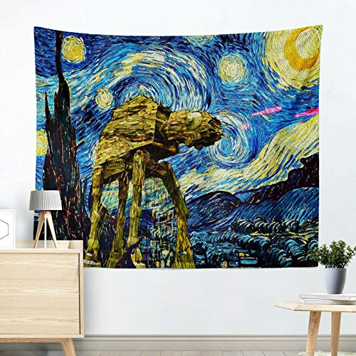 OATHENE Cool Starry Night Star Wars Tapestry,Van Gogh Art Oil Painting Wall Hanging,for Bedroom/Living Room,Polyester,60L x 51 W Inches (150cm x 130cm),654 -