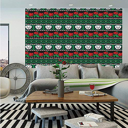 - Skulls Decorations Wall Mural,Mexican Folk Art Skulls and Roses Knitted Pattern,Self-Adhesive Large Wallpaper for Home Decor 55x78 inches,